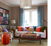 غرف معيشة بألوان مبهجة