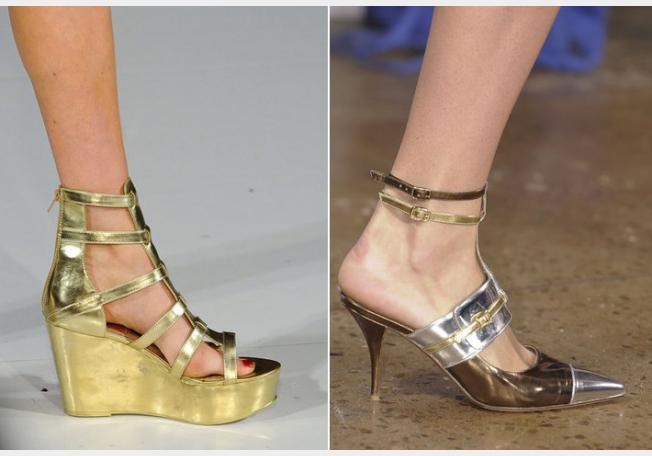 أحذية الميتاليك بين الكعب الرفيع والـWedges